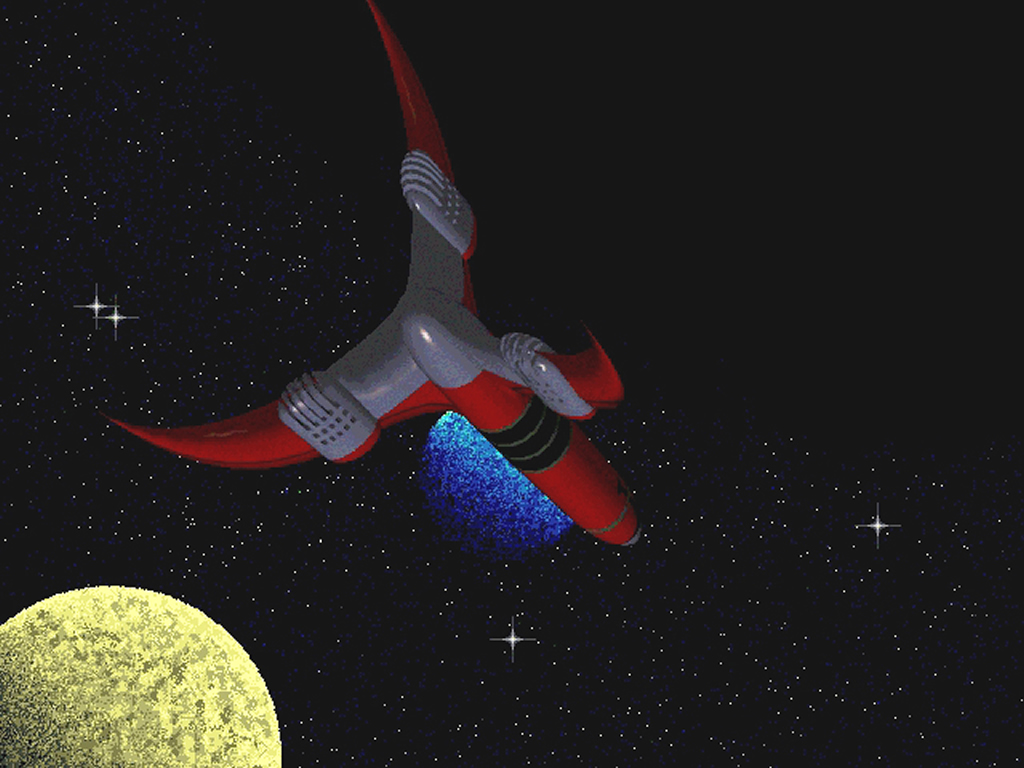 "A 3-D computer-modelled image of Lero's ship approaching the dark star ""Sabul"" en-route from Earth to Cryptos, based on a frame from the 1955 story ""The Man From Nowhere"""